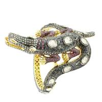 Vintage Estate Ruby Sapphires Poli Rose Cut & CZ Bangle Crocodile Style Bracelet