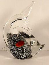 Murano Art Glass Dichroic Fish Figurine Hand Crafted Sticker Italy Silver