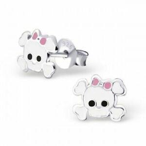 925 Sterling Silver White Skull Halloween Stud Earrings Girls Ladies Gift Boxed