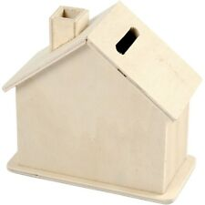 Mini House Shape Money Box - Plain Wood - Craft Decorate Paint Display Toy Gift