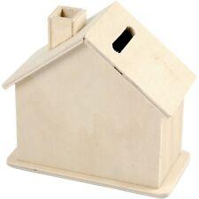 Mini Haus Form Spardose - Einfaches Holz - Handwerk Dekorieren Farbe Display TOY