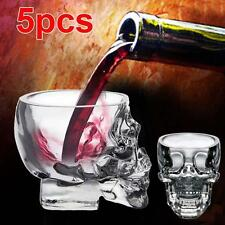 5x GLASS CRYSTAL Skull Head Vodka Shot Whiskey Wine Bar Glass Drink Decanter BT