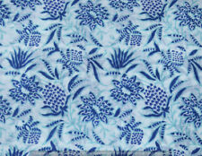 Running 100% Cotton Voile Fabric blue Multi Sewing HandBlock Craft Print 3 yard