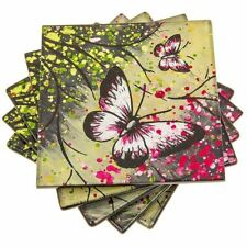 Set of 4 Pink and Green Glass Coasters or Drink Mats Forest Butterfly Metallic