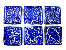 LEAF CRAFT TILES Handmade Ceramic Art Craft / Mosaic Tiles Cobalt Blue Set of 6