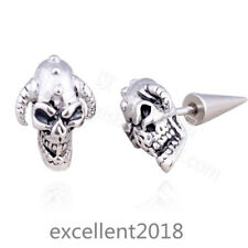 Men Stainless Steel Silver Hip-hop Skull Horn Cone Screw Back Stud Earrings