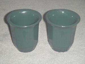 PFALTZGRAFF LOT OF 2 HANDLESS CUPS DARK HUNTER GREEN