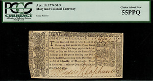 MD-63 Colonial Currency - April 10, 1774 $1/3 - Graded PCGS 55PPQ