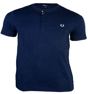 NWT Fred Perry M6251 Men's Concealed Tape Henley Shirt Blue SELECT SIZE