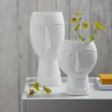 White Lady Head Vase, Short / Small Female Face Ceramic Flower Vase