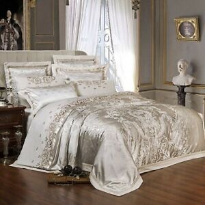 Sliver Gold Luxury Silk Satin Jacquard Duvet Cover Bedding Set Queen King Size