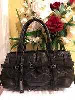 BURBERRY BLACK  Leather Belted Bag PURSE (700