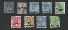 BRITISH LEVANT 1880's-1920's. QV TO GEORGE V,  9 DIFFERENT OVERPRINT STAMPS, VGU