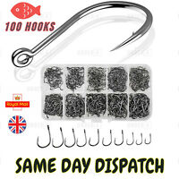 100 FISHING HOOKS HOOK MIX SIZE COARSE CARP TACKLE SET BAIT SEA RIVER UK