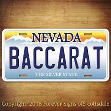 Casino Gambling Game BACCARAT Nevada Aluminum Vanity License Plate Tag