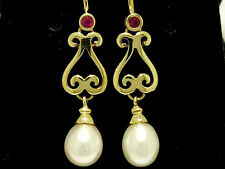 E056 Superb Genuine 9K SOLID Yellow Gold NATURAL Ruby Pearl Scroll Drop Earrings