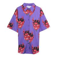 Harajuku Demon Print T-shirt Women Summer Casual Loose Short Sleeve Shirt Tops