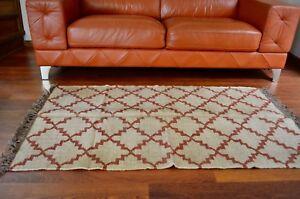 Kilim Rug Indian Jute Wool Hand Knotted Geometric 90x150cm 3x5ft KR1819