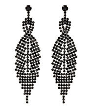 CLIP ON EARRINGS - silver drop earring with black crystals - Cadis B