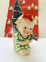 Vintage Christmas Tree Little Girl 1940's Ceramic Assemblage Decoration