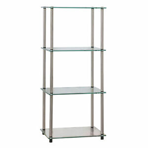 Convenience Concepts Designs2Go Classic Glass 4 Tier Tower Shelf Accent Table