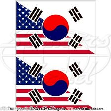 USA United States America-SOUTH KOREA American-S.Korean Flag 100mm Stickers x2