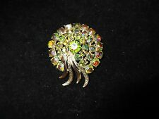 Art Signed Vintage Pin Brooch Rhinestone Crystal Aurora Borealis Antique Estate