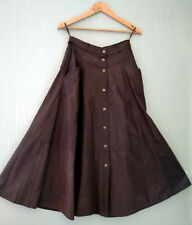Vintage Brown Real Leather Stud Button Flared Long Skirt Waist 28 inches UK 10