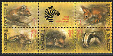 Zoo Relief 1989 Russia block of 5+ label mnh #B152-6 Marten Badger Squirrel Hare