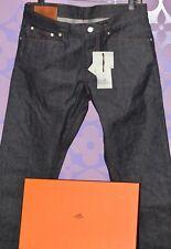 HERMES Jeans EU 42 or 34x36 Hard Denim Dark INDIGO Wash Jacron Cuir NWT +BOX!