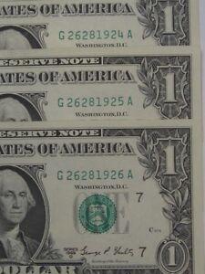 3 CU Crisp 1969-D Sequential FRN $1 Notes. Serial # G26281924A-26A.  #34