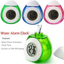 Water Powered LCD Screen Digital Display Clock Bedside Travel Clock Temperature