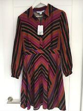 Beautiful diane von furstenberg Colourful Striped Dress - Button Detail UK10 US6