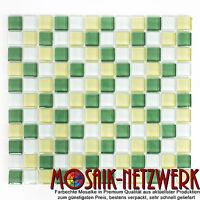 Glasmosaik weißgelb kiwi Küche Wand Dusche Pool Boden | Art: WB72-0504 | 1 Matte