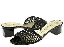 Juicy Couture SHAE Black Patent Leather Crocheted Mesh Slide Sandals Heel - 6 M