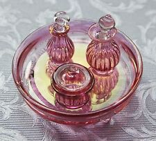 Dollhouse miniatures: Glasscraft cranberry glass dressing table set dolls house