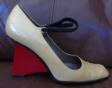 Like a Sculpture!! PRADA Pale Yellow Leather Shoes Amazing Red Heels 7.5 - 8