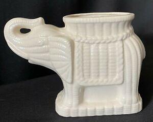 White Elephant Planter Basket Weave Pattern Design Trunk Up Vase Trinket Holder