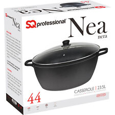 Non Stick Die Cast Deep Casserole Oven Dish Stockpot Soup Pot Pan Glass Lid 44cm