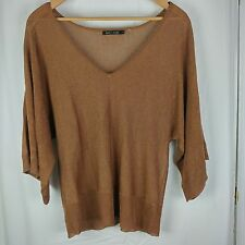 Nic + Zoe Womens Gold Sheer Knit Pullover Top Blouse Large Linen Blend V-Neck