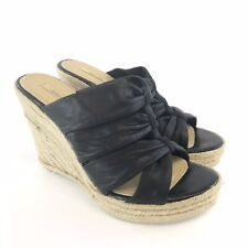 Geox 39 UK6 Black Leather Slip On Open Peep Toes Espadrilles Wedge Sandals Shoes