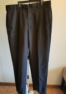 Men's Zanella Black Wool Blend Flat Front Pants Size 35