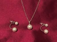 Simply pearl necklace pearl oyster pendants s925 Silver and  pearl earrings set