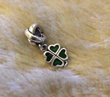 GENUINE PANDORA Green Four Leaf Clover Charm 790572EN25 & Pandora Gift Pouch