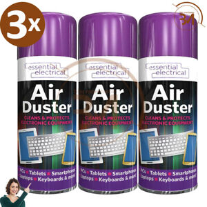 3 x New Compressed Air Duster Spray Can Cleans Protects Laptops Keyboards  200ml