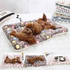 1x Pet Mat Paw Print Cat Dog Puppy Bed Cushion Mattre Fleece Soft Warm Blanket @