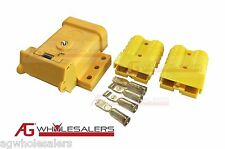 YELLOW ANDERSON PLUG MOUNTING KIT 50A WITH 2 PLUGS MOUNT COVER DUST CAP EXTERNAL
