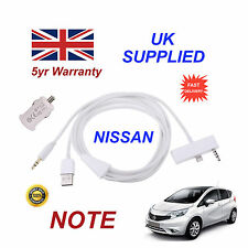 For NISSAN NOTE iPhone 6 Plus USB & 3.5mm Aux Cable & USB Power Adapter