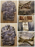 Kalaheo Hawaiian Shirt Medium Military Bomber Planes Trees Island's NEW USA