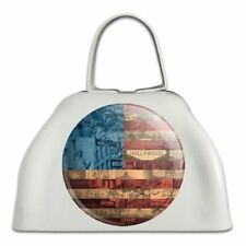 American Flag Patriotic Usa Collage White Metal Cowbell Cow Bell Instrument